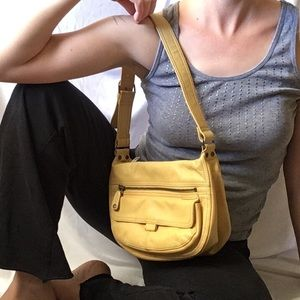 Fossil Mustard Yellow Leather Shoulder Bag